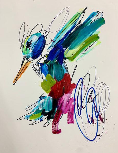 Red Hummerbird Blue Swirls  Art | ashalmonte