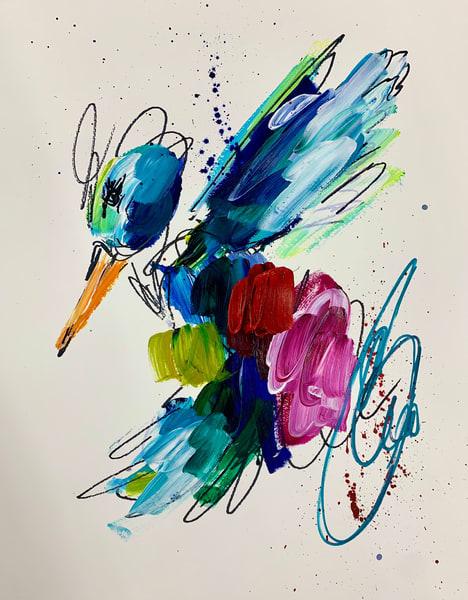 Red Hummingbird Teal Swirl  Art | ashalmonte