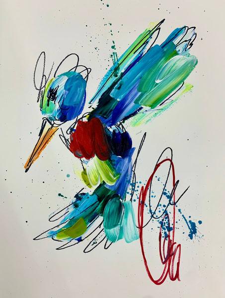 Red Hummingbird Red Swirl  Art | ashalmonte