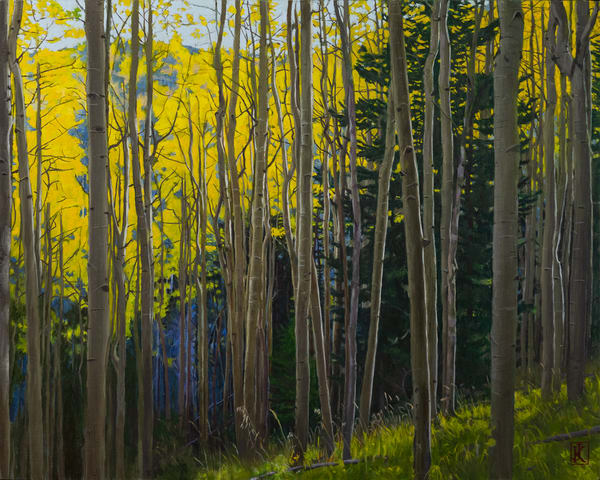 landscape, aspens, autumn, forest, sangre de christo mountains, new mexico, santa fe, contemporary realism