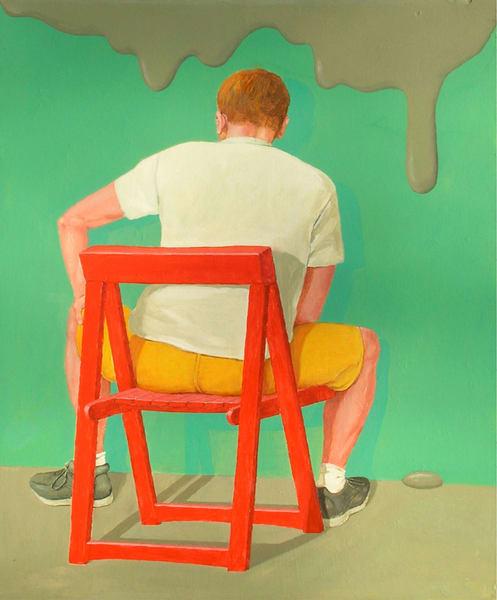 Man In Red Chair Art   Scheihagen Art