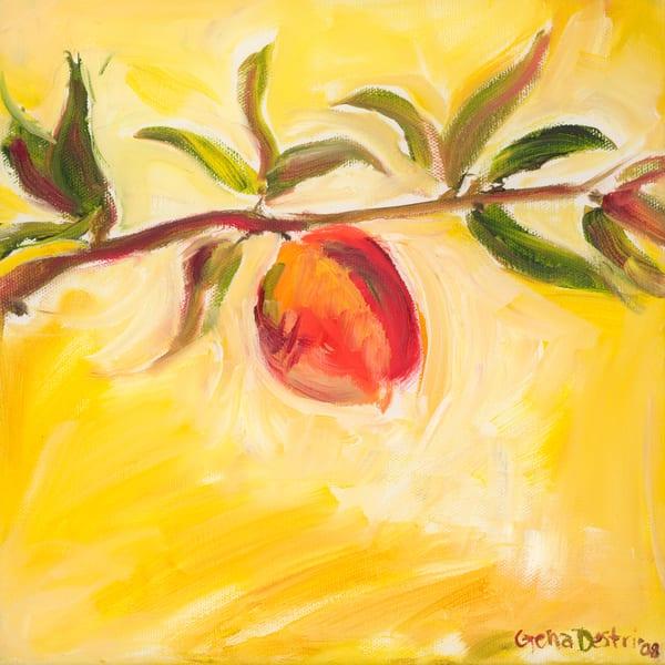 Peach, ripe, painting, yellow