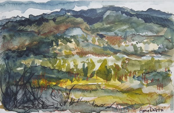 Mountains, Watercolor, Abstract, Landscape