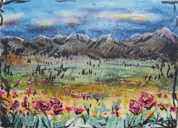 Landscape, Mountains, poppies, tiny art