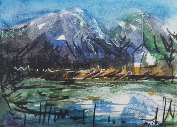 Tiny art, mountains, landscape, watercolor
