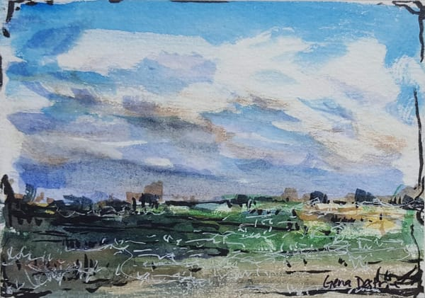 tiny art, watercolor, landscape, clouds