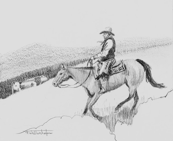 "Raymond Wattenhofer Art Original Drawing ""Picking Up Strays"""