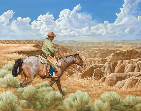 """Raymond Wattenhofer Art Oil Painting """"On The Edge"""""""
