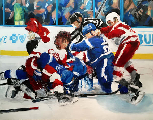 A Little Scrap Original Hockey Painting by Michael Serafino Available for Purchase - Wet Paint NYC Gallery