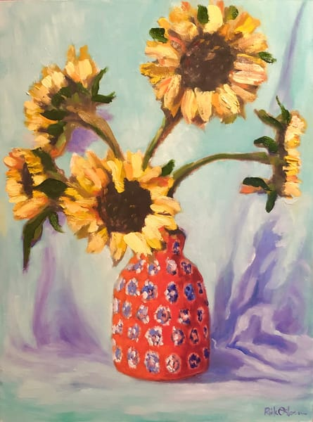 Sunflowers in a Red Vase | Fine Art Original Oil Painting by Rick Osborn