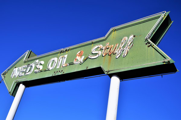 Ned Has Oil and Stuff Route 66 Neon Sign
