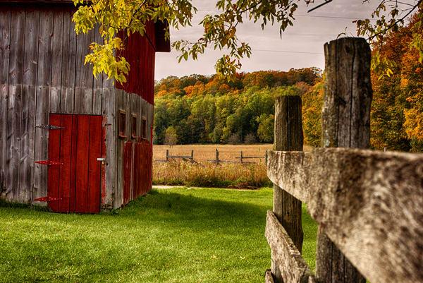 Autumn barn farm fall fence