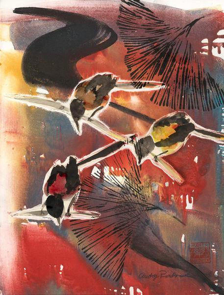 Red Sky and Birds at Night - Audrey Bordvick