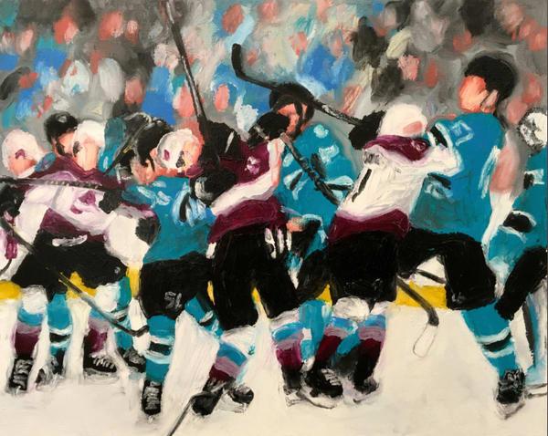 Getting Chippy (Shaks/Avs)  Original Hockey Fight Painting for Sale - Michael Serafino - Wet Paint NYC Gallery