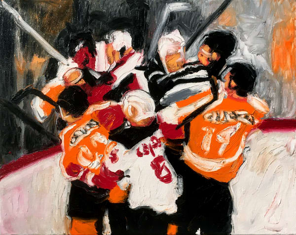 A Little Scrap (Flyers) Original Hockey Fight Painting for Sale - Artist Michael Serafino - Wet Paint NYC Gallery