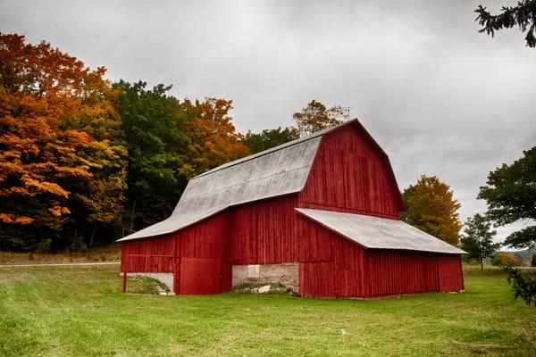 Red Barn, grey skies and beautiful fall colors