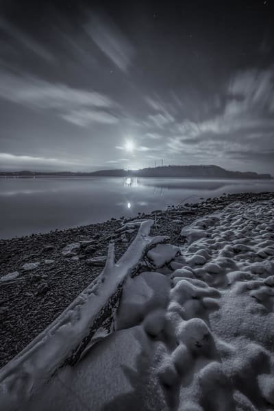 """""""Wintry Night Over Long Level"""" Photography Art 