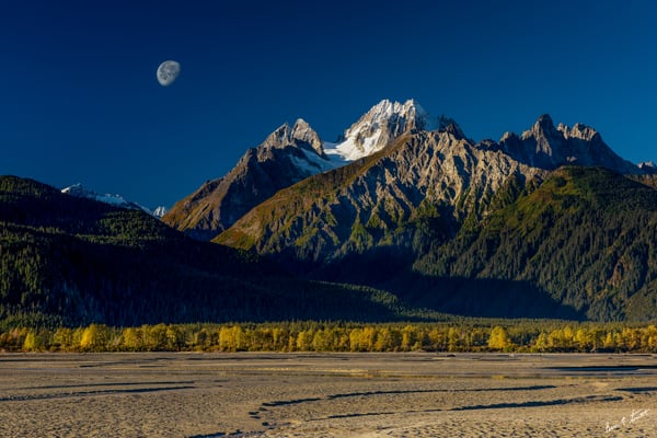 Sunrise Moonset On The Chilkat Art | Alaska Wild Bear Photography