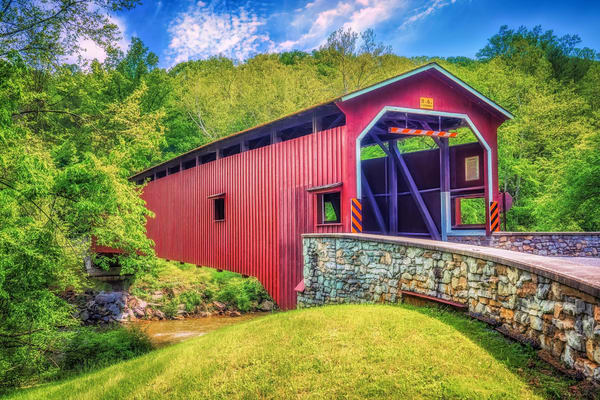 """""""The Red Covered Bridge"""" Photography Art   Inspired Imagez"""