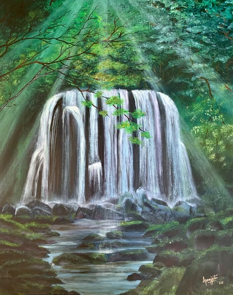 """""""Waterfall and Sun-rays"""" - Oil on stretched canvas by Aprajita Lal"""