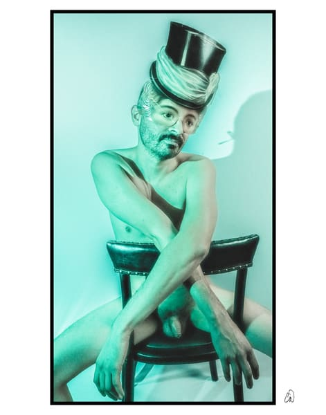 nude male masked in chair print