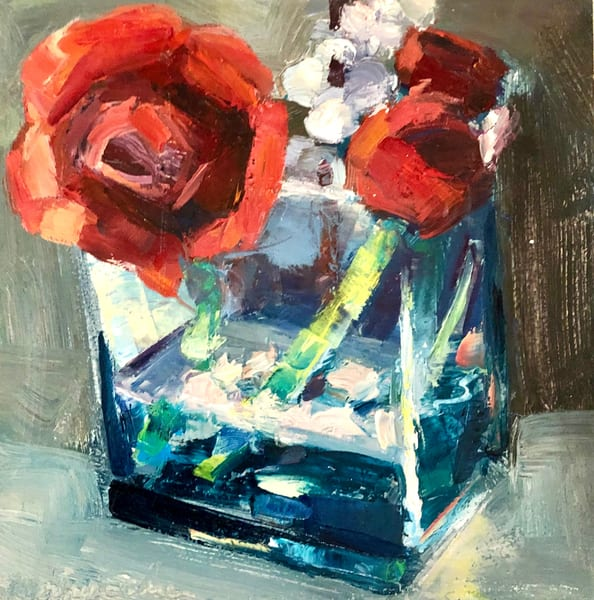 "Gorgeous lush oil painting by Monique Sarkessian, ""Together Still Life With Red Ranunculus and Cherry Blossoms"".  I absolutely love painting flowers especially red ones. Gorgeous! Original art by Monique Sarkessian. Oil painting on wood measures"