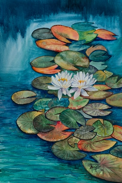 """Waterlilies -I"" in watercolors by Aprajita Lal"