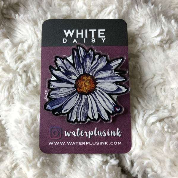 White Daisy Acrylic Pin | Water+Ink Studios