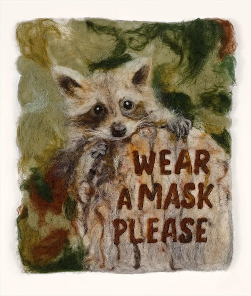 """Wear a Mask Please"" fine art print by Paula Jean Roberts."