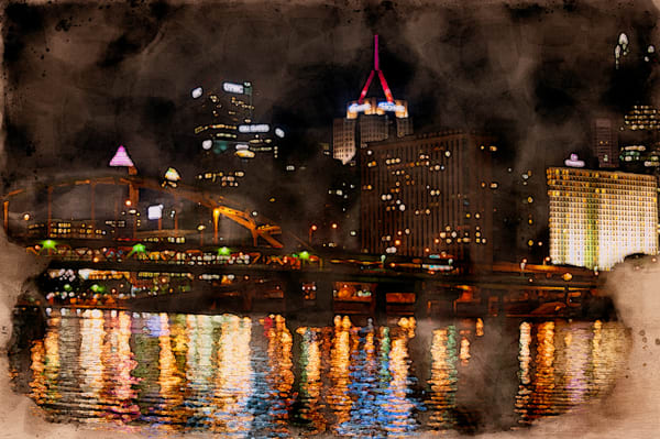 Night Time Pittsburgh Lights Watercolor