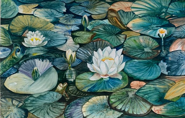"""""""Lilies in the pond"""" in watercolors by Aprajita Lal"""