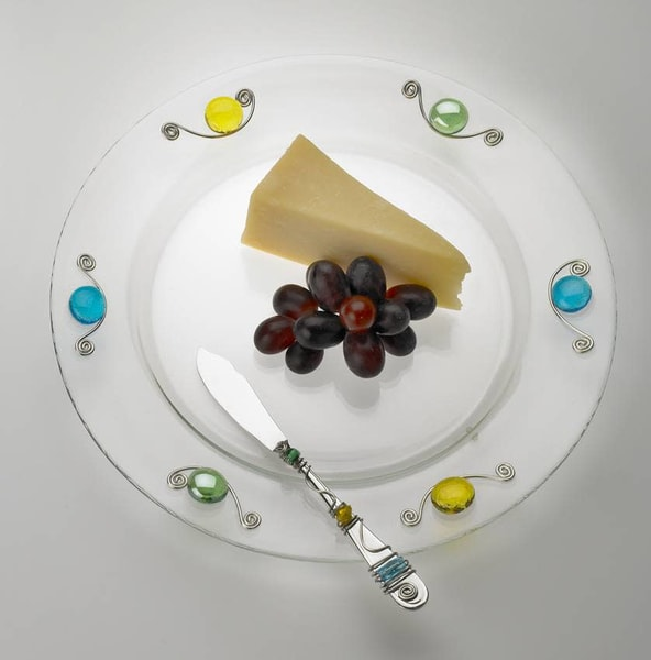 Large Round Beaded Cheese Plate And Spreader | Art a la Carte Gallery