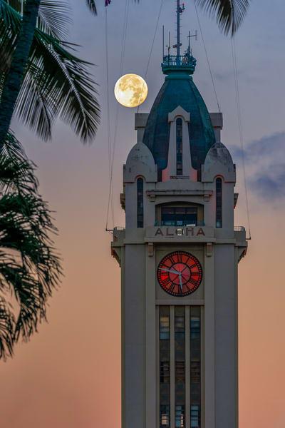 Moon Over Aloha Tower