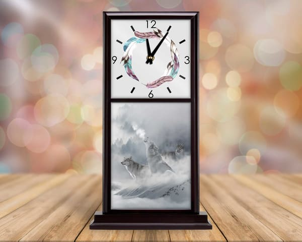 Winter Wolves Mantel Clock