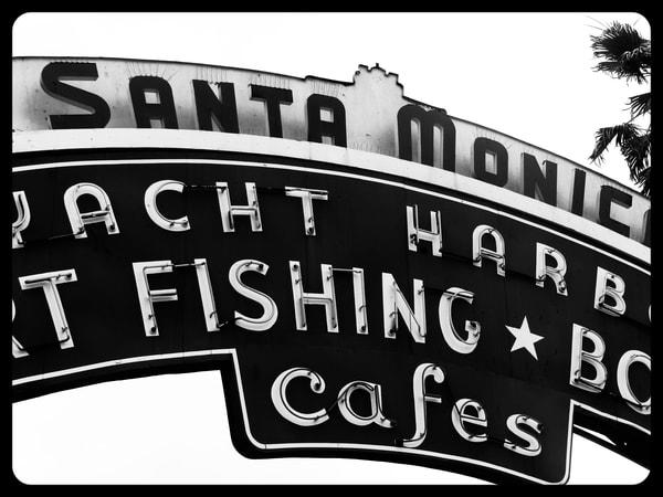 Black and White Santa Monica Pier Neon Sign