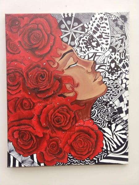 """""""Delicacy of Petals"""" acrylic painting"""