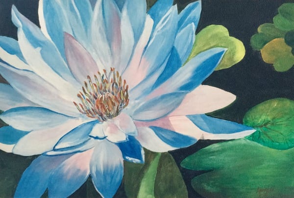 """""""Blue Lotus"""" in Acrylics on canvas by Aprajita Lal"""