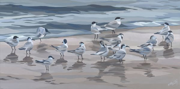 "Reproductions from ""Gray Day Birds"", an original 30x15 acrylic on canvas."