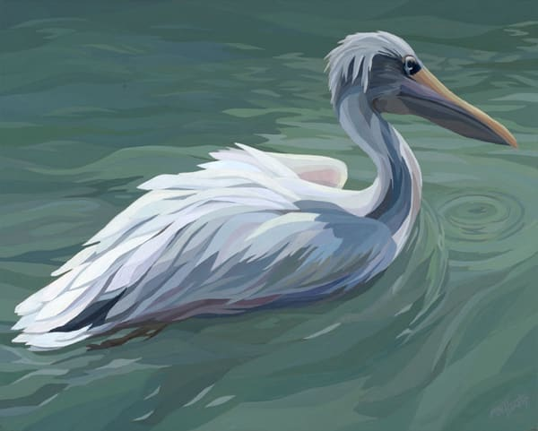 "Reproductions from Pink-Backed Pelican"", a 20x16 original acrylic on canvas."