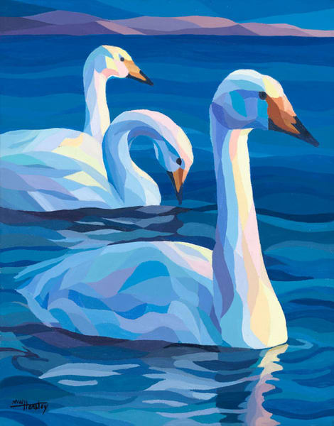 "Reproductions from ""Swans at Sundown, an original 11x14 acrylic on canvas."