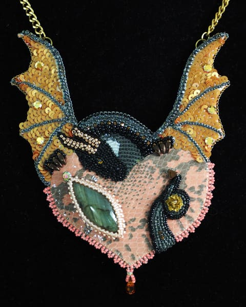 Rohan the Red, Dragon Necklace Bead Embroidery by Kate Costello