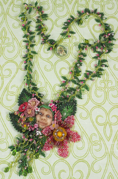 Smiegle, the Hobbit by Kate Costello, seed bead necklace