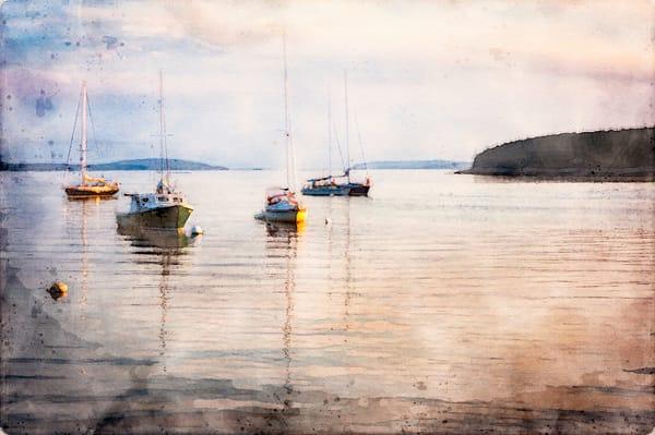 Sailboats at Anchor Watercolor