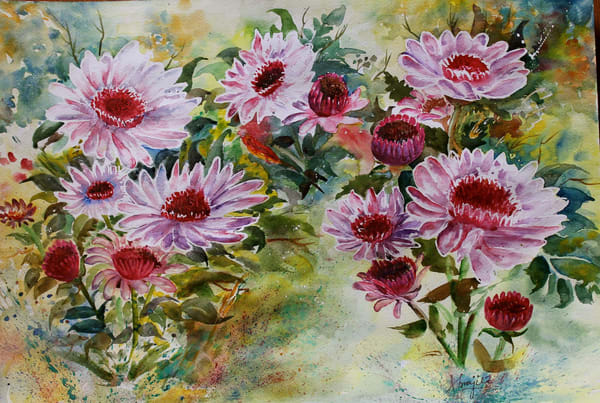 """Pink Blooms"" in watercolors by Aprajita Lal"