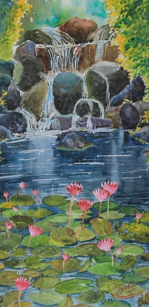 """Pink Waterlilies"" in watercolors by Aprajita Lal"
