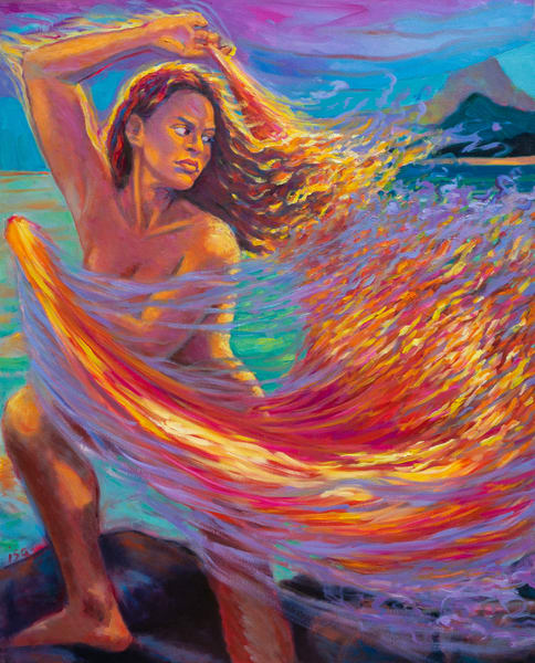 Isa Maria Art Magic - oil painting portraits of Hawaii goddesses and mermaids - Pele Dances with Veil of Fire