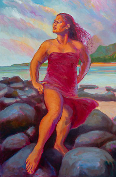 Isa Maria Art Magic - oil painting portraits of Hawaii goddesses and mermaids - Kealia Dawn