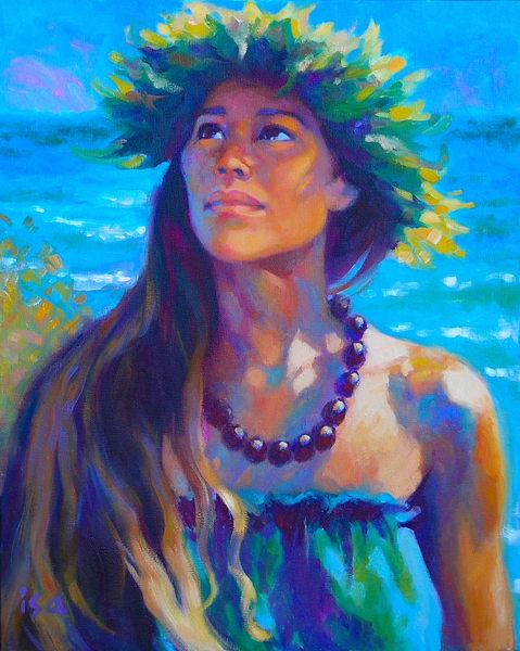 Isa Maria paintings, prints - Hawaiian hula dancer - Listening to Aumakua