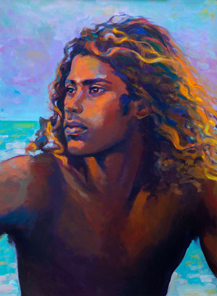 Isa Maria paintings, prints - portrait of surfer - Krishan