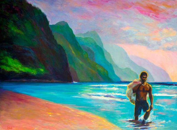 Isa Maria paintings, prints - Kauai, Hawaii, Na Pali Coast - Fisherman at Ke'e